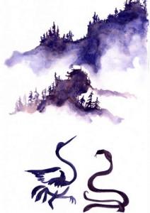Raffigurazione di una Gru e un Serpente in fase di combattimento (aut. Sandro Cea)